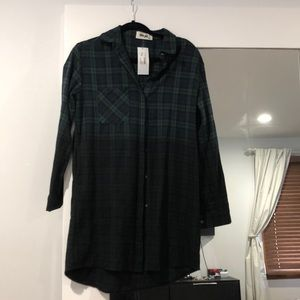 Long sleeve ombré plaid button up dress flannel